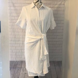 Piper & Scoot button dress tie wrap waist white